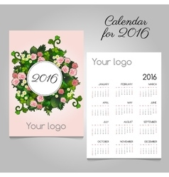 Pink calendar 2016 with flower ornament vector
