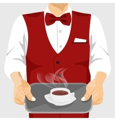 Waiter serving cup of coffee on silver tray vector