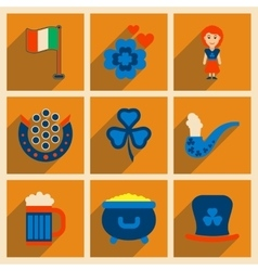Concept of flat icons with long shadow st patrick vector