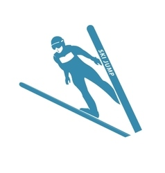 Blue jumping skier silhouette vector