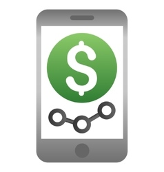 Mobile market monitoring gradient icon vector