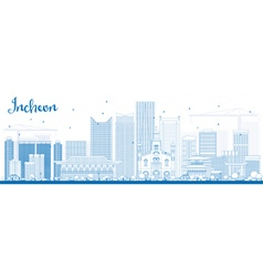Outline incheon skyline with blue buildings vector