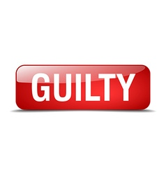 Guilty red square 3d realistic isolated web button vector