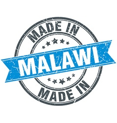 Made in malawi blue round vintage stamp vector