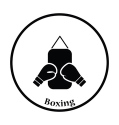 Icon of boxing pear and gloves vector