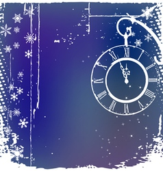 Background with a clock in blue color vector image