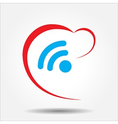 Beautiful Love Wireless Heart web icon vector image vector image