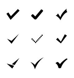 Black confirm icons set vector