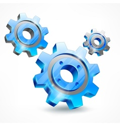 Blue three gears on white vector image vector image