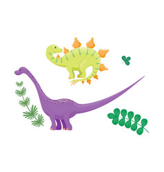 cartoon dinosaurs diplodocus vector image
