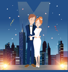 couple character on wedding day vector image