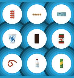 Flat icon food set of eggshell box yogurt tomato vector