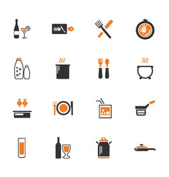 food and kitchen icons set vector image
