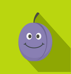 Fresh blue smiling plum icon flat style vector