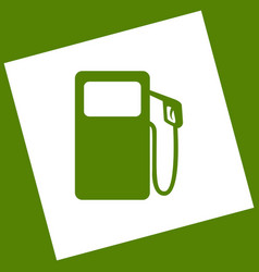Gas pump sign white icon obtained as a vector