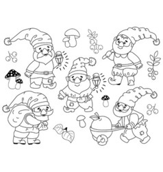 Gnomes set vector
