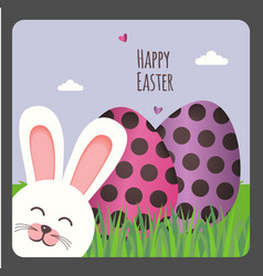 Happy easter greeting card with two eggs and bunny vector