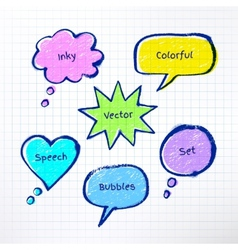 Inky colorful bubble-talks vector