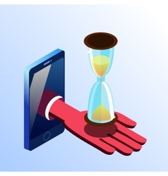 Isometric smartphone showing hand with hourglass vector
