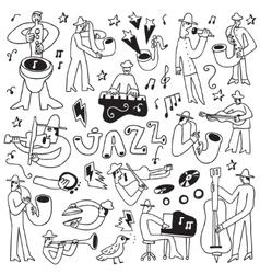 Jazz musicians -doodles set vector