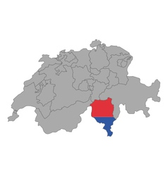 Map of Switzerland with flag of Ticino vector image vector image