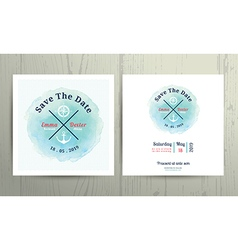 Nautical water colour wedding invitation card vector