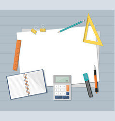 Paper with ruler pencil pen and calculator vector