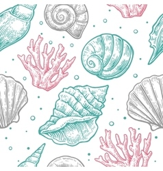 Seamless pattern sea shell engraving vector