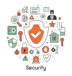 Security and Safety Thin Line Icons Set vector image vector image