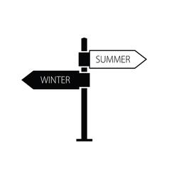 signboard winter summer black vector image