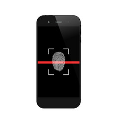 smartphone with fingerprint scanning vector image vector image