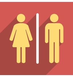 Toilet People Flat Longshadow Square Icon vector image