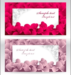 Two post card or frames or banners with red and pi vector image