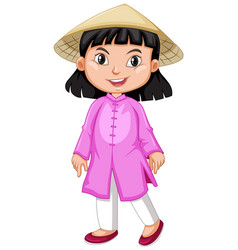 Vietnamese girl in pink outfit vector
