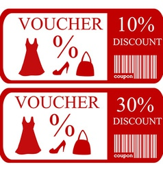 10 and 30 discount vouchers vector