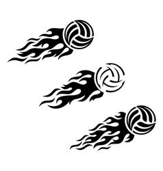 Volleyball ball flaming logo design vector image