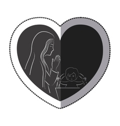 Jesus and mary inside heart design vector