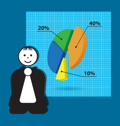 Cartoon teacher - business presentation with chart vector