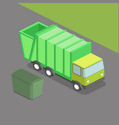 garbage truck isometric vector image