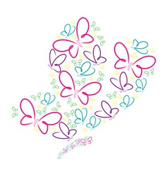 Hand drawn butterflies in a butterfly shape in vector