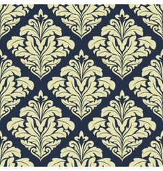 Beige and dark blue seamless damask pattern vector