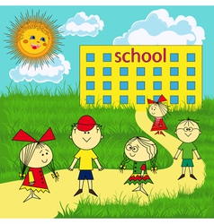 Small group of children near the school vector