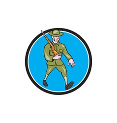 World war one soldier british marching circle vector