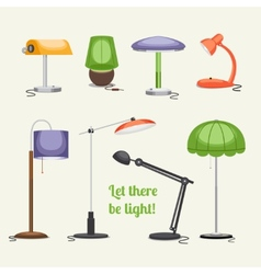 Furniture floor lamp and table lamps vector