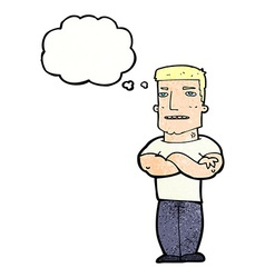 Cartoon tough guy with folded arms with thought vector