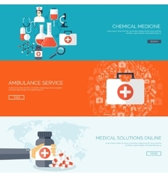 Flat medical backgrounds set vector