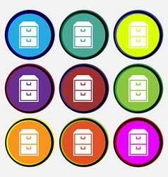 Nightstand icon sign nine multi colored round vector