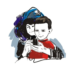 Mother and son vector