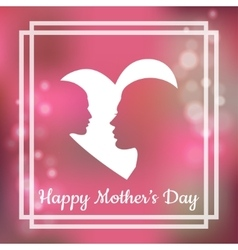 Silhouette of mother and her child with text for vector image