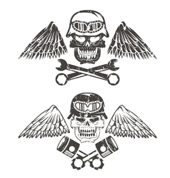 Biker theme label with pistons wrenches and skulls vector